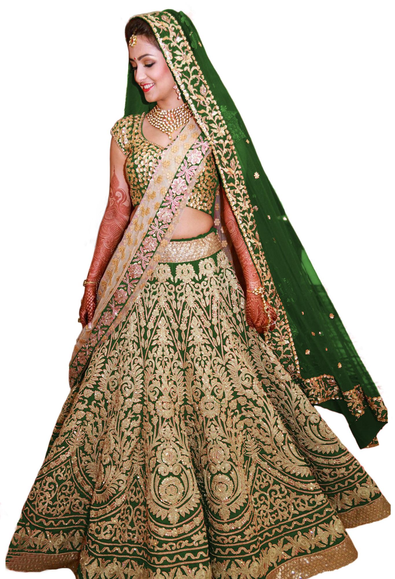 3f31eb1c2c Green embroidered Raw silk unstitched lehenga-choli - Fabron - 1299474
