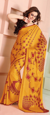 Exciting Yellow Saree in Jacquard fabric. 31175.