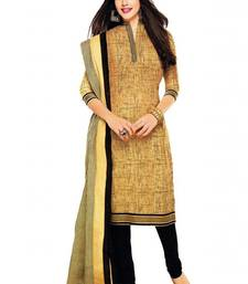 Buy Khaki printed crepe unstitched salwar with dupatta dress-material online