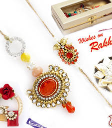 Buy Premium Jewelled Oxidised metal Bhaiya Bhabhi Rakhi Set rakhi-international online