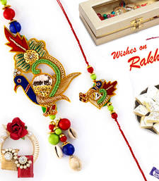 Buy Amazing Kundan work Peacock Zardosi Bhaiya Bhabhi Rakhi Set rakhi-international online