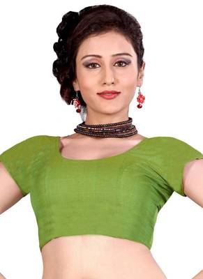Green Cotton Silk Unstitched Blouse - PSB092