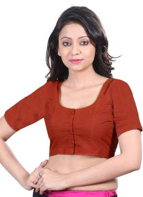 Maroon Cotton Silk Unstitched Blouse - PSB096