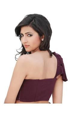 Purple Cotton Silk Unstitched Blouse - PSB099