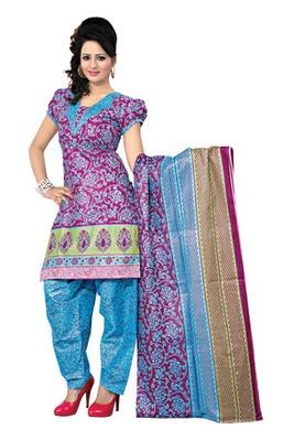 CottonBazaar Magenta Colored Cotton Printed Un-Stitched Salwar Kameez