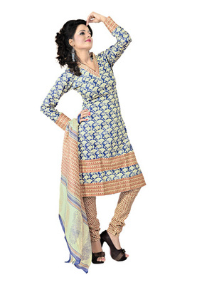 CottonBazaar Blue  Colored Cotton Printed Un-Stitched Salwar Kameez