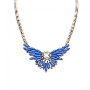 Blue Crystal Short Chain Necklace
