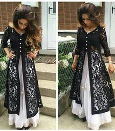 Buy Black hand crafted net semi stitched salwar with dupatta party-wear-salwar-kameez online