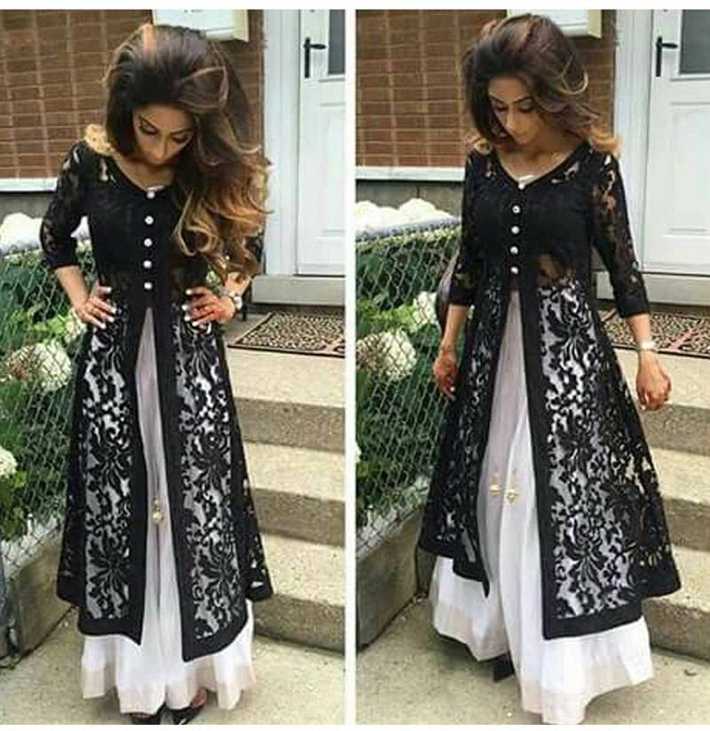 Buy Black hand crafted net semi stitched salwar with