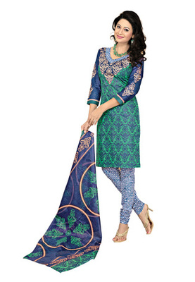 CottonBazaar Green  Colored Cotton Printed Un-Stitched Salwar Kameez