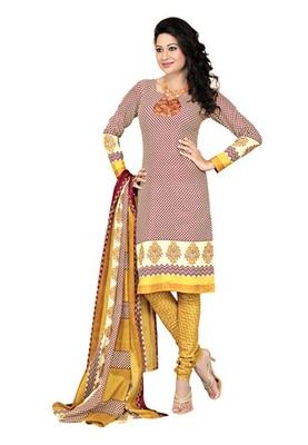 CottonBazaar White-Maroon  Colored Cotton Printed Un-Stitched Salwar Kameez