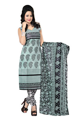 CottonBazaar Grey  Colored Cotton Printed Un-Stitched Salwar Kameez