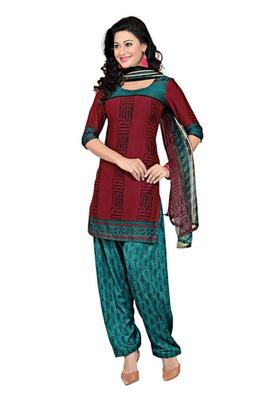 CottonBazaar Maroon  Colored Cotton Printed Un-Stitched Salwar Kameez