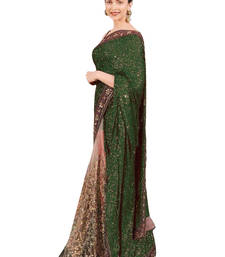 Buy Green sequined layered georgette and net saree for women wedding-saree online