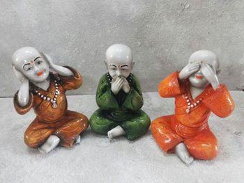 Set of 3 Monks Idols