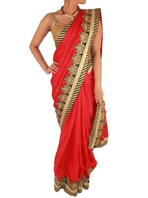 Black gold velvet embroidery on Deep Red Crepe saree