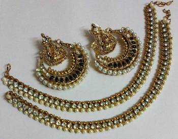 Designer Black colour Ram Leela Earings with Traditional Anklets
