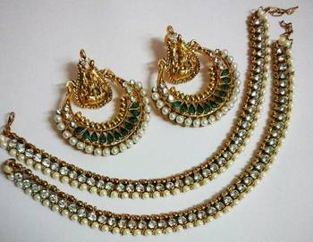 Designer Green colour Ram Leela Earings with Traditional Anklets