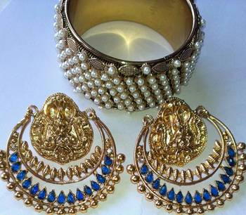 Designer Ram Leela Earings with Traditional Kadas