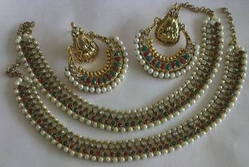 Designer Ram Leela Earings with Traditional Anklets