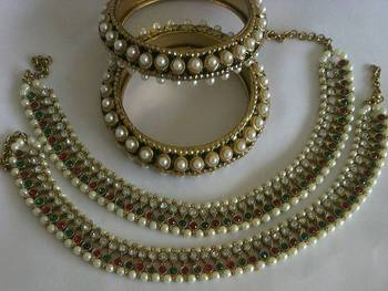 Designer Multi colour Anklets with Traditional Pearl Bangle