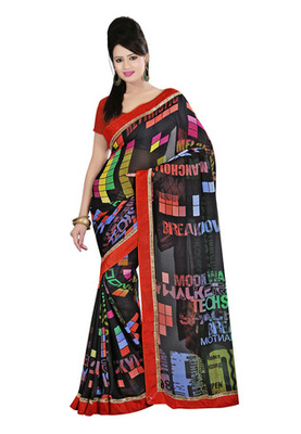 Fabdeal Black Colored Georgette Saree