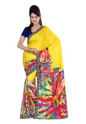 Fabdeal Yellow Colored Georgette Saree