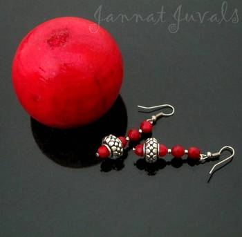 Red coral and silver beaded earrings