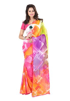 Fabdeal Pink Colored Georgette Saree