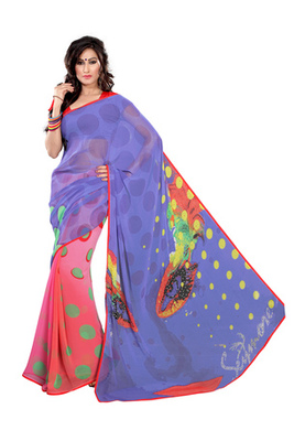 Fabdeal Blue & Light Pink Colored Georgette Saree