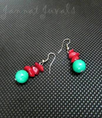Red chips and Bluish Green earrings