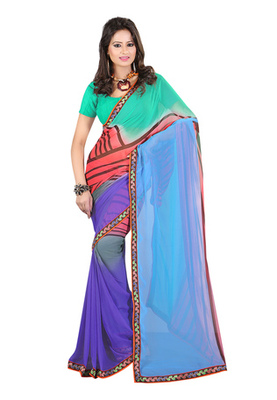 Fabdeal Green & Violet Colored Georgette Saree