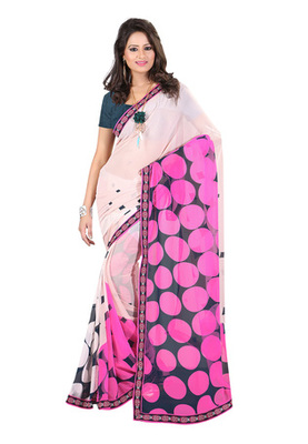 Fabdeal White & Pink Colored Georgette Saree