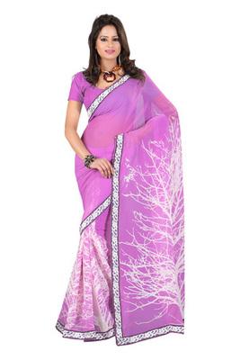 Fabdeal Lavender Colored Georgette Saree