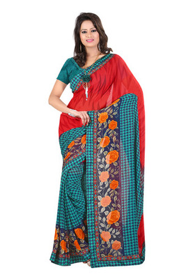 Fabdeal Red Colored Georgette Saree