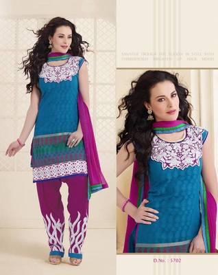 Blue embroidery design work Patiyala style salwar suit