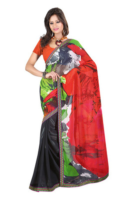 Fabdeal Red & Black Colored Georgette Saree