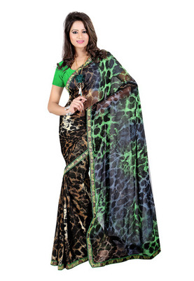 Fabdeal Black & Green Colored Georgette Saree