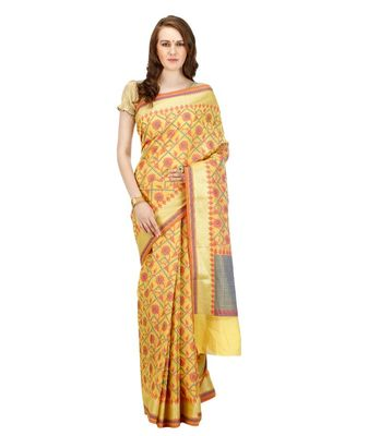 Gold Embroidered Cotton Saree With Blouse