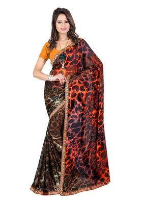 Fabdeal Black & Orange Colored Georgette Saree