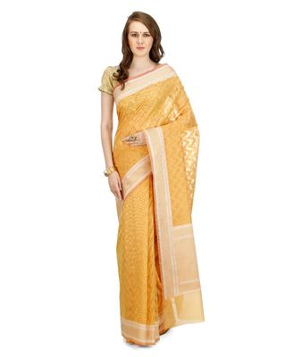 Mustard Embroidered Cotton Saree With Blouse
