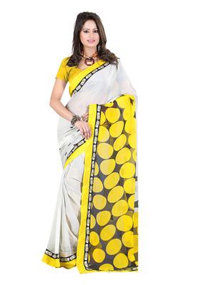 Fabdeal White & Yellow Colored Georgette Saree