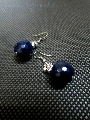 Blue Onyx Flower Earrings