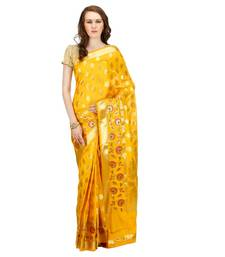 Buy gold embroidered cotton saree With Blouse cotton-saree online
