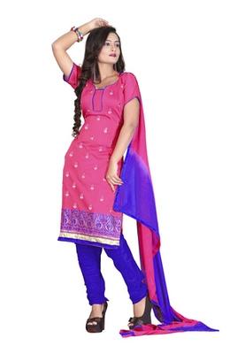 Fabdeal Pink Colored Chanderi Silk Embroidered Unstitched Salwar Kameez