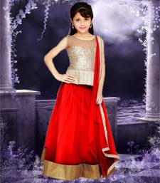 Buy Maroon plain net kids lehenga choli kids-lehenga-choli online