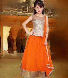 Buy Orange plain net kids lehenga choli eid-kids-wear online