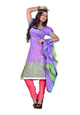 Fabdeal Light Purple Colored Chanderi Silk Embroidered Unstitched Salwar Kameez