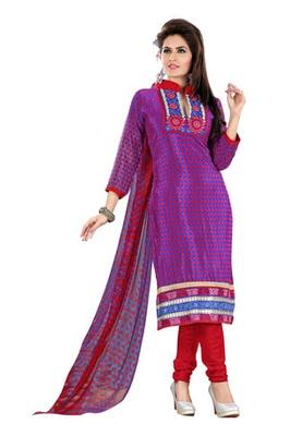 Fabdeal Blue & Pink Colored Crepe Jacquard Embroidered Unstitched Salwar Kameez