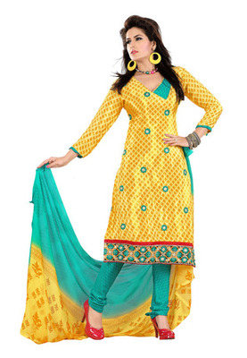 Fabdeal Yellow Colored Crepe Jacquard Embroidered Unstitched Salwar Kameez